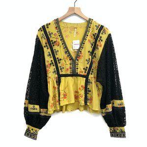 New Free People Yellow & Black Blouse - Size XS